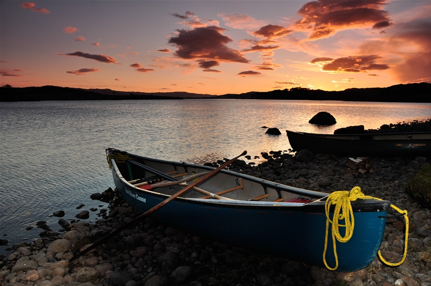 Canoes sunset loch Shiel